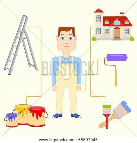 Painter with Equipment
