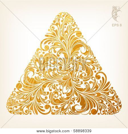 triangle geometric shape with filigree floral ornament in gold color, vector illustration