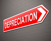 picture of depreciation  - Illustration depicting a sign with a depreciation concept - JPG