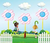 picture of seesaw  - Illustration of the kids playing seesaw at the park - JPG