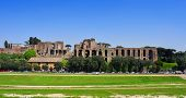 Ruins of Circus Maximus and the Domus Augustana on Palatine Hill in Rome, Italy