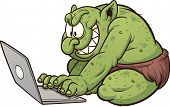 Fat internet troll using a laptop. Vector clip art illustration with simple gradients. All in a sing
