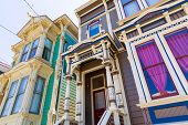foto of victorian houses  - San Francisco Victorian houses in Pacific Heights of California USA - JPG