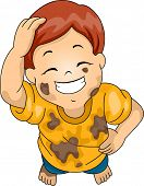 stock photo of scratching head  - Illustration of a Boy Wearing Muddy Clothes Grinning While Scratching His Head - JPG