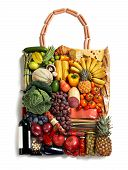 foto of eatables  - studio photography of designer handbag made from different fruits and vegetables  - JPG