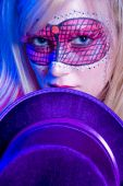 pic of mardi-gras  - Portrait of a young woman dressed up for Mardi Gras - JPG