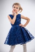picture of fancy-dress  - Beautiful girl in trendy blue dress - JPG