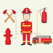 stock photo of firemen  - vector illustration of fireman with fire brigade - JPG