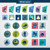 stock photo of ski boots  - Winter sport and hiking flat icon collection - JPG