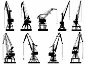 pic of crane hook  - Set vector silhouettes of cargo crane tower isolated on white - JPG