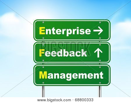 3D Enterprise Feedback Management Road Sign