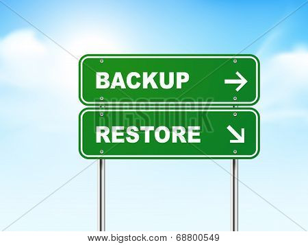 3D Road Sign With Backup And Restore