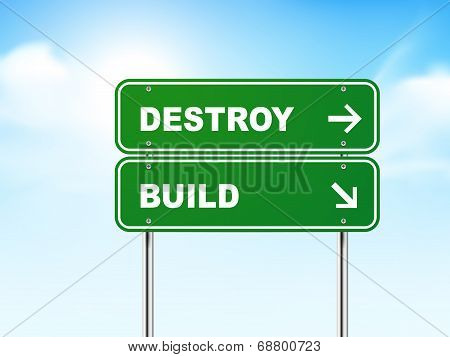 3D Road Sign With Destroy And Build