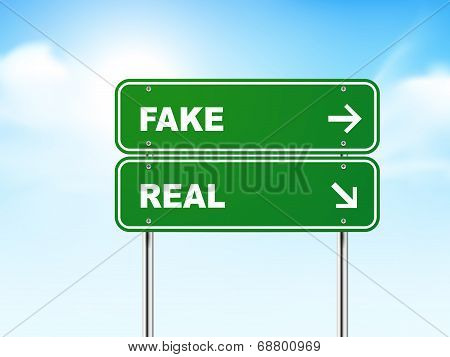 3D Road Sign With Fake And Real