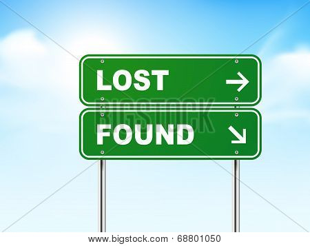 3D Road Sign With Lost And Found