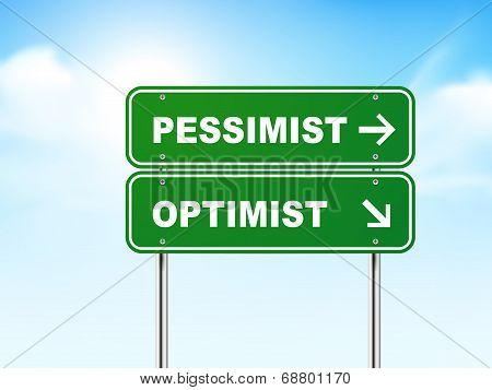 3D Road Sign With Pessimist And Optimist