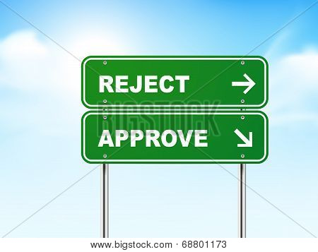 3D Road Sign With Reject And Approve