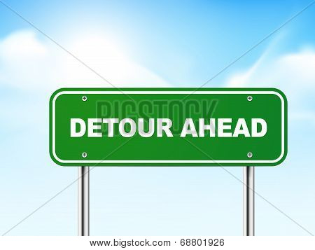 3D Detour Ahead Road Sign
