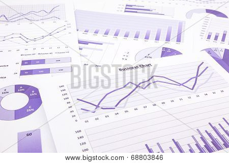 Purple Business Charts, Graphs, Data And Report Summarizing Background