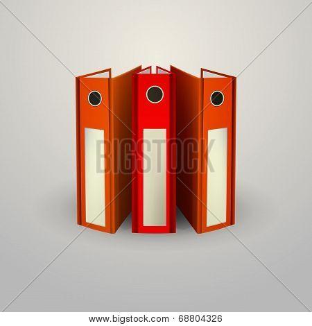 Vector illustration of red folders