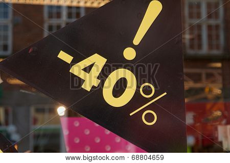 Sale Sign 40 Percent Off The Price