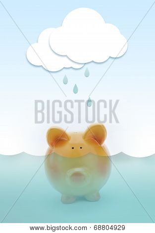 Piggy Bank Drowning In Water, With Paper Cloud Raining Above