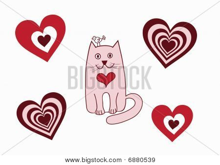Valentine card with cat, bird and hearts