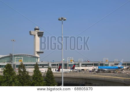 Delta Airline Terminal 4 and Air Traffic Control Tower at John F Kennedy International Airport