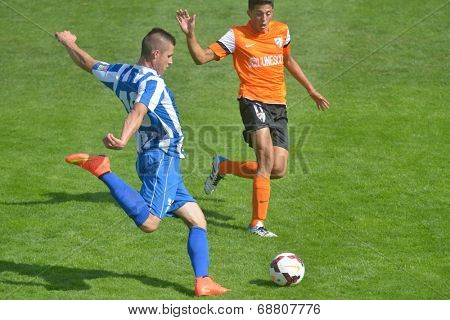 MOSCOW, RUSSIA - JULY 21, 2014: Match OFK, Serbia - Malaga, Spain during the Lev Yashin VTB Cup, the international tournament for U21 soccer teams. Malaga won 2-0