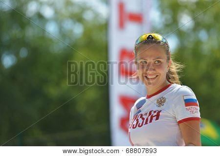 MOSCOW, RUSSIA - JULY 19, 2014: Ekaterina Kirgizova of Russia in the match against Venezuela during ITF Beach Tennis World Team Championship. Russia won 2-1