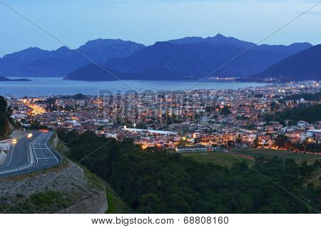 MARMARIS, TURKEY - APRIL 23, 2014: Night view to the city and the bay. City population increases 10 times during the tourism season, and its nightlife rivals anything on the Turkish coast