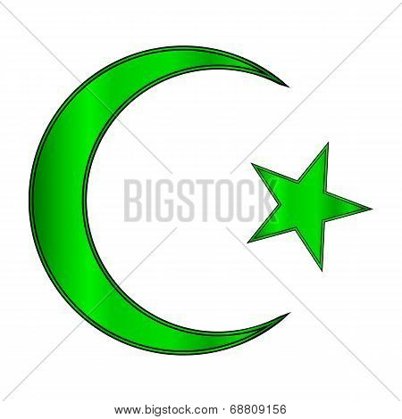 Green Star And Crescent Icon