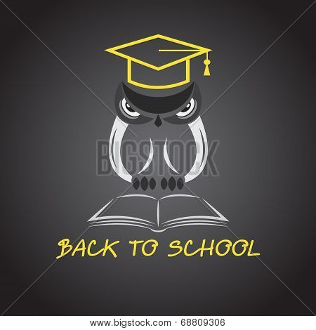 Vector Image Of An Owl Glasses With College Hat And Book