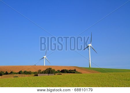 Modern windmills on windless day. Green field and blue sky