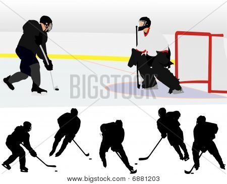 Ice Hockey Silhouettes
