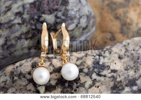 Pair of Beautiful  Gold Earrings with Diamonds and Pearls on the natural stones background