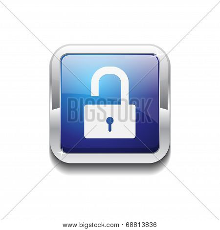 Unlock Rounded Corner Square Blue Vector Web Button Icon