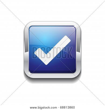 Tick Mark Rounded Corner Square Blue Vector Web Button Icon