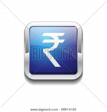 Rupee Currency Sign Vector Blue Web Icon Button