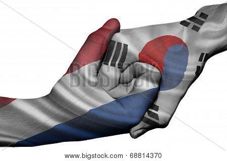 Handshake Between Netherlands And South Korea