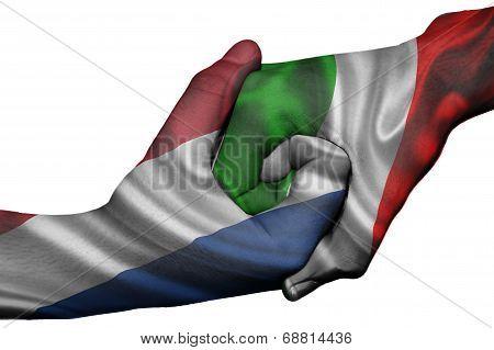 Handshake Between Netherlands And Italy
