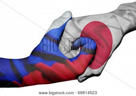 Handshake Between Russia And Japan