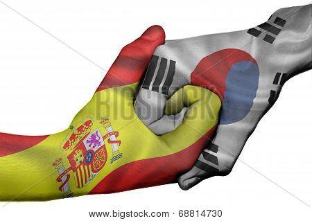 Handshake Between Spain And South Korea