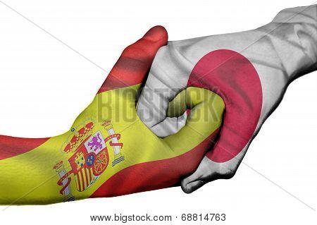 Handshake Between Spain And Japan