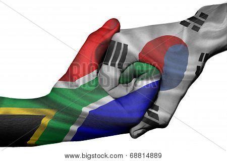 Handshake Between South Africa And South Korea