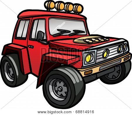 Red cartoon off-road vehicle. Isolated.