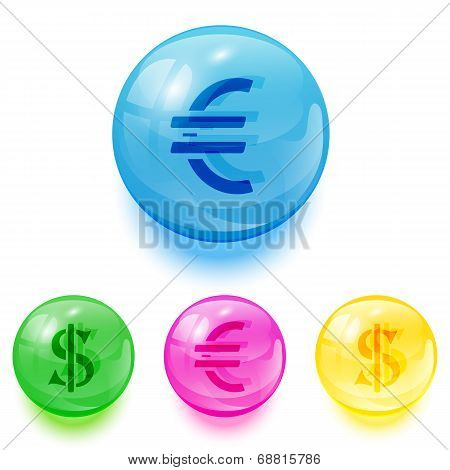 Euro And Dollar Icons