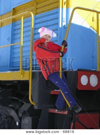 Girl On  Footboard Of Locomotive