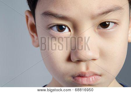 Child. Funny Little Boy. Handsome Boy With Black Eyes.