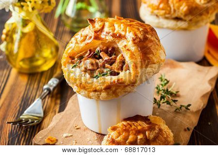 Individual Mushroom pot pie with puff pastry crust